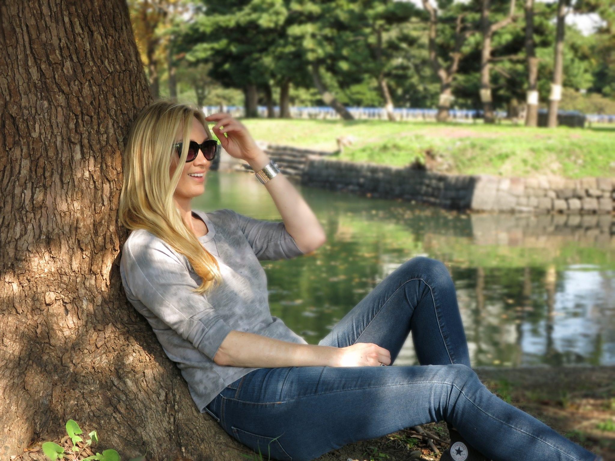 Relaxing in Hamarikyu Gardens in Tokyo