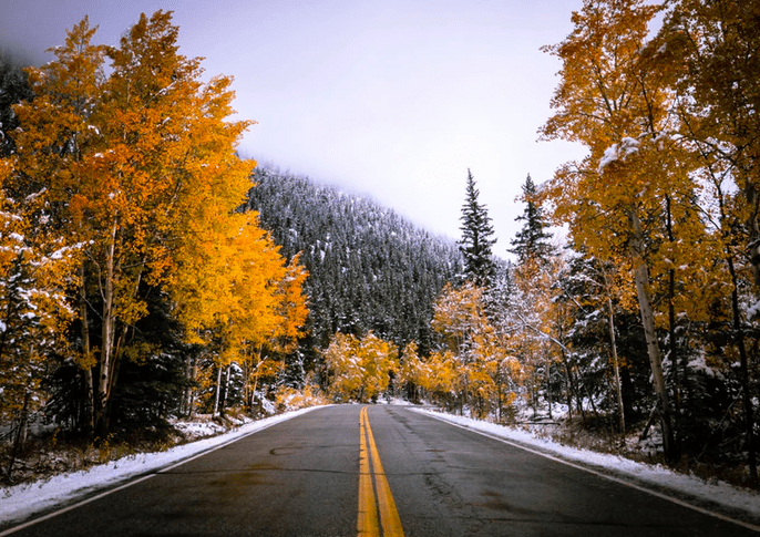 A road in Colorado in the winter