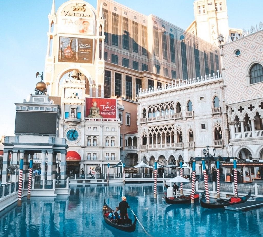 A gondola outside of the Venetian Las Vegas
