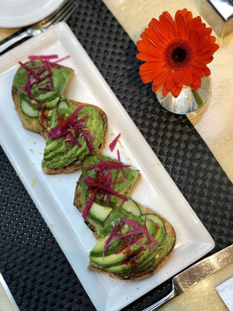 Avocado toast at Jardin at Encore Las Vegas