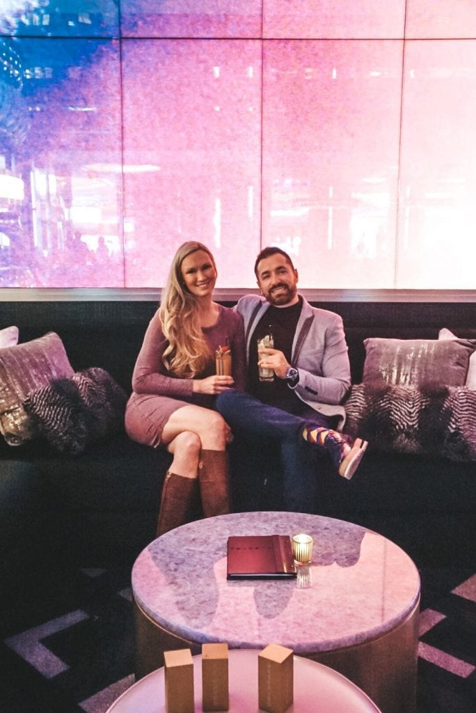 A couple in Electra Cocktail Club in Las Vegas