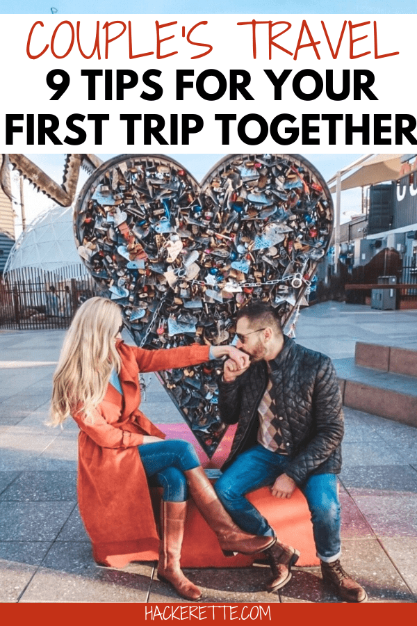 Click here for 9 travel tips to make your first couples getaway go a little smoother. #couplestravel #couplesgetaway #traveltips | couple travel tips | couple travel ideas | couples travel tips | money saving tricks for couples travel | travel tips for couples | couples getaway ideas | couples travel goals | couples travel memories | couples travel luxury | couples travel budget | couples travel together | travel together couple | travel together relationship goals | travel together lets