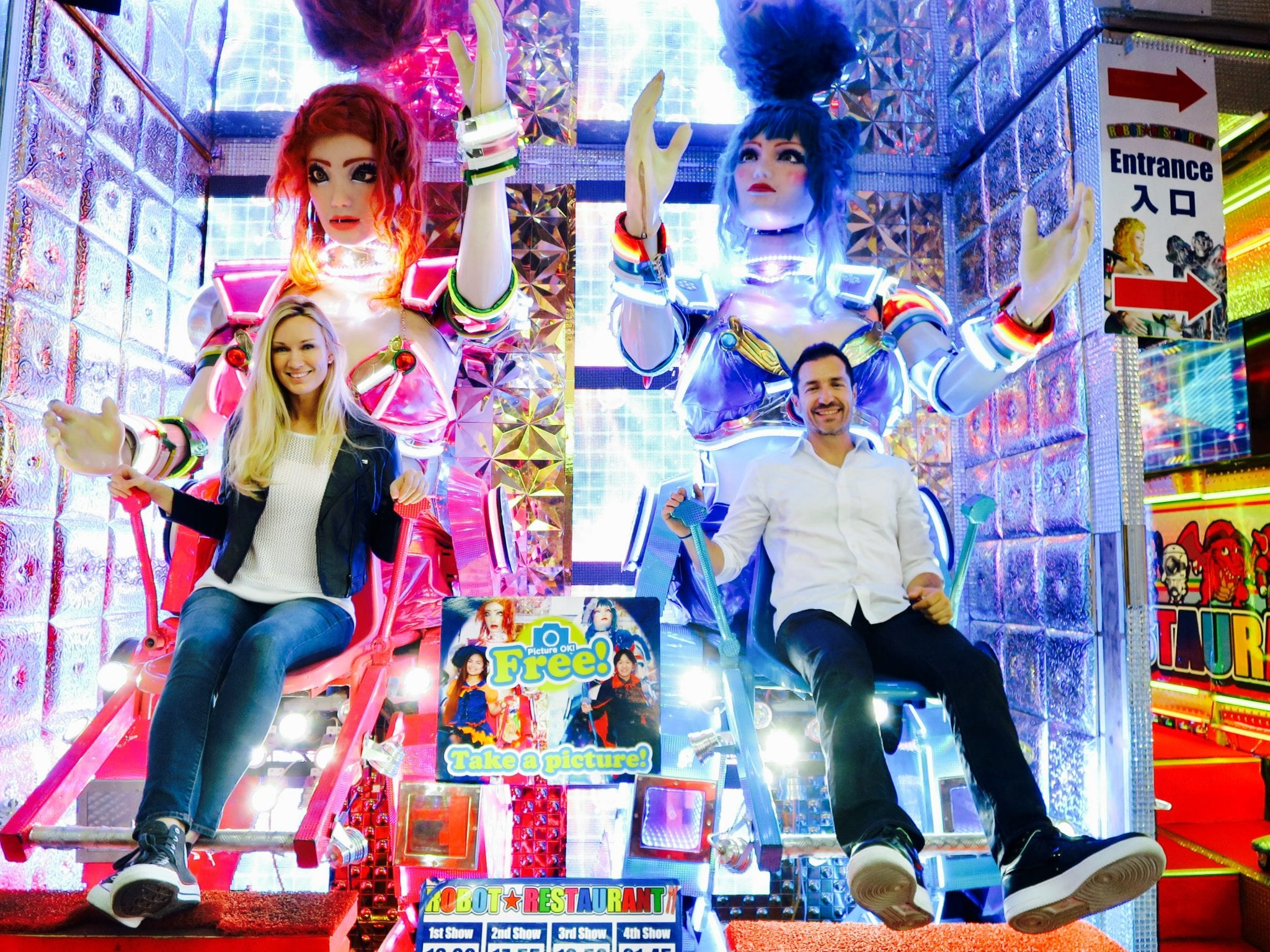 A couple at Robot Restaurant in Tokyo