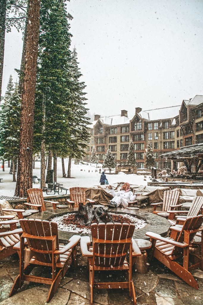 The outdoor fireplace at the Ritz Carlton Lake Tahoe