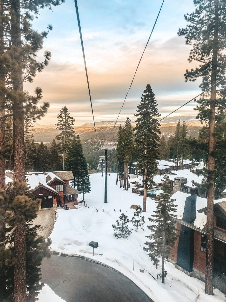 The view from the ski lift at the Ritz Carlton Lake Tahoe