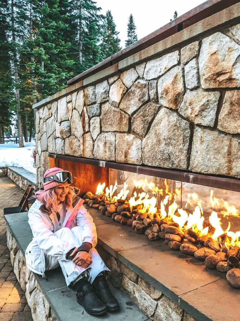 Enjoy the warmth of an outdoor fireplace at the Ritz Carlton Lake Tahoe