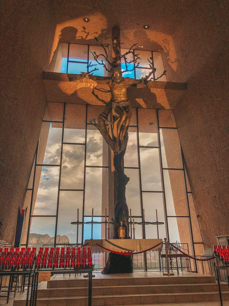 Inside of Holy Cross Chapel in Sedona