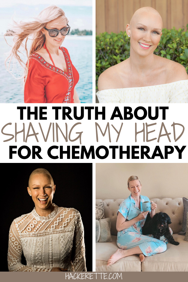 The stages of hair loss during my breast cancer journey. Get the truth about what it is really like to shave your head for chemotherapy, the emotions I went through with losing my hair due to chemo, and so much more about my head shave story here. #breastcancer #cancersurvivor | chemotherapy tips hair loss | chemotherapy tips for women | chemo haircut | chemo hair loss | hair loss chemo | hair loss chemo ideas | hair loss chemo style | hair loss chemotherapy | hair loss from chemo